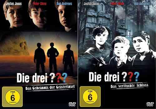 DVD Die drei Fragezeichen 3 ??? Kinofilm 1 + 2 Geheimnis Geisterinsel verfluchte Schloss 2x DVDs NEU