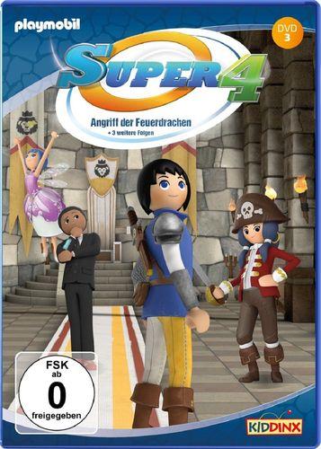 DVD Super 4 Playmobil 03 3 Angriff der Feuerdrachen TV-Serie mit 4 Geschichten NEU & OVP