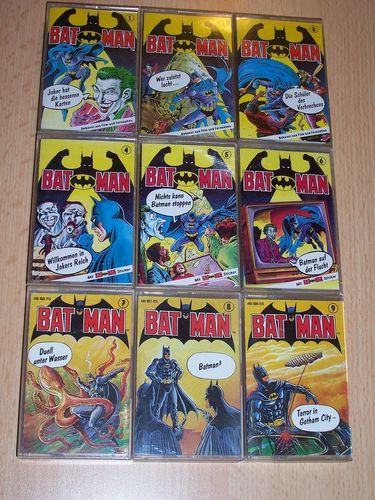 Batman Hörspiel MC Kassetten Folge Nr. 1 - 9 x MCs komplett Set Sammlung Paket OHHA  gebr.