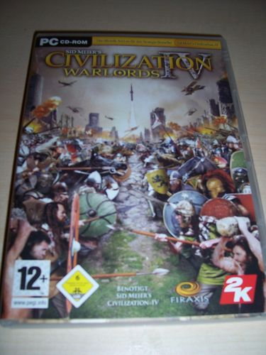 PC CD-Rom Spiel - Civilization 4 IV - Warlords (Add-On) DVD-Rom Windows 2000 + XP  USK 6 gebr.
