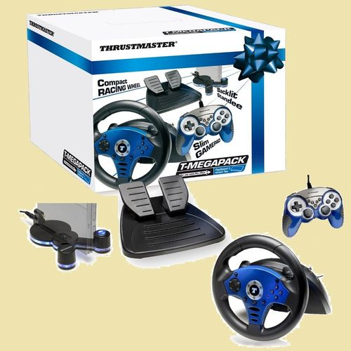 PlayStation 1 + 2 PS2 Thrustmaster T-Megapack Lenkrad Pedale Controler PS1 PSX PSone  in OVP gebr.