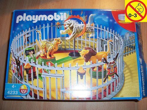 Playmobil Set 4233 Circus / Zirkus - Raubtierdressur Löwe Tiger Leopard + Bauanleitung + OVP gebr.