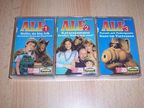 ALF Hörspiel MC Folge 1 - 3  3x MCs Kennenlernpaket Komplett Set Sammlung Kassette Karussell gebr.