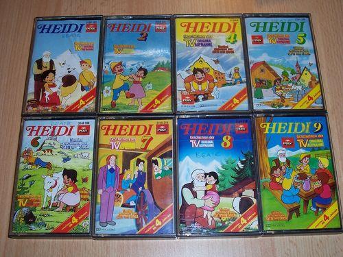 Heidi Hörspiel MC Folge 1 - 10 8x MCs  Komplett Set Original zur TV-Serie Poly Polydor gebr.