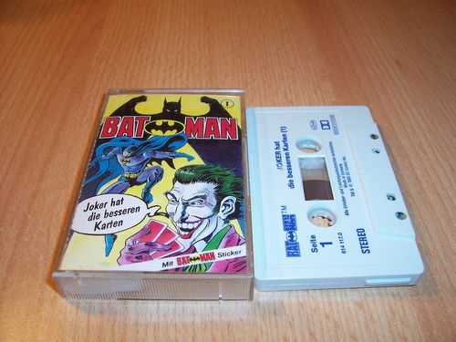 Batman Hörspiel MC Folge 001 1 Joker hat die besseren Karten  Kassette grau-blau OHHA gebr.