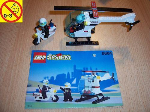 LEGO ® System / City Set 6664 - Chopper Cops - Polizei Hubschrauber Heli Motorad + BA gebr.