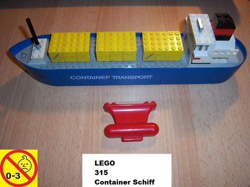 LEGO ® System / City Set 315 - Floating Boats Container Ship Schiff von 1976 gebr.