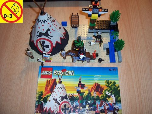 LEGO ® System / Western Set 6746 - Wild West Indian Chief's Tepee Indianer Häuptling Zelt + BA gebr.