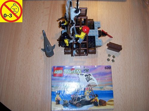 LEGO ® System / Pirate / Piraten Set 6261 - Raft Raiders - Piraten Floß fahrt + BA gebr.