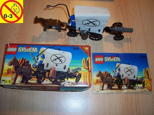LEGO ® System / Western Set 6716 - Wild West Weapons Wagon Soldat Planwagen Kanone + BA + OVP gebr.