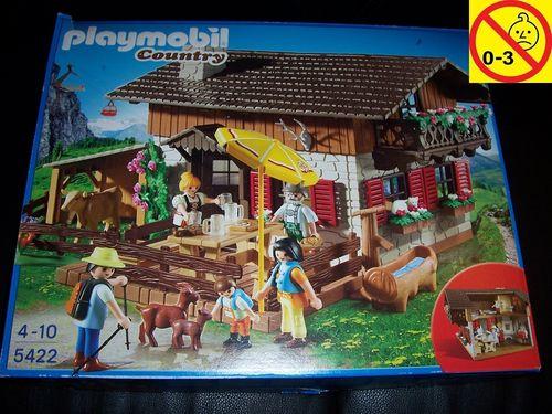 Playmobil Set 5422 Country Almhütte mit Kuh und Ziege + Bauanleitung + OVP gebr.