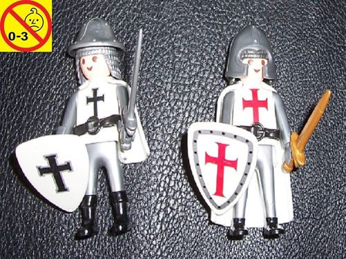 Playmobil Set 5825 / 4670 + 4625 Ritter Special Kreuzritter / Ordensritter rot + schwarz gebr.
