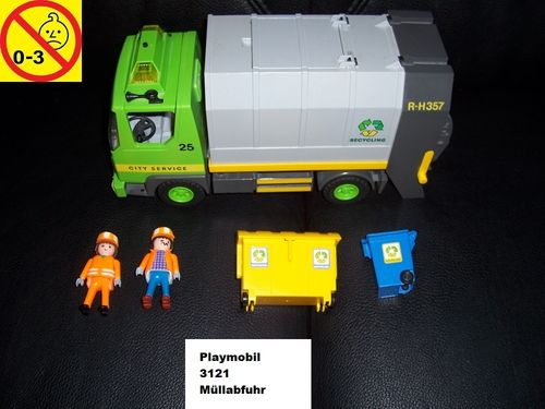 Playmobil Set 3761 City / Life - Müllabfuhr LKW R-H-357 + ohne Bauanleitung gebr.