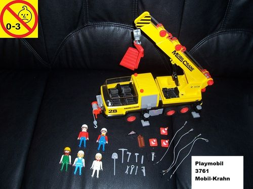 Playmobil Set 3761 City / Life - Baustelle Schwerlast Mobil Kran Mobil Crane ohne Bauanleitung gebr.