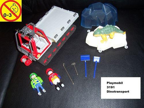 Playmobil Set 3191 City / Life - Dinotransport mit Pistenraupe Ankylosaurus ohne Bauanleitung gebr.