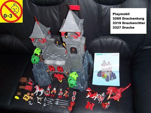 Playmobil Set 3269 3319 3327 Knights Ritter - Drachenritter Drache Drachenburg + Bauanleitung gebr.