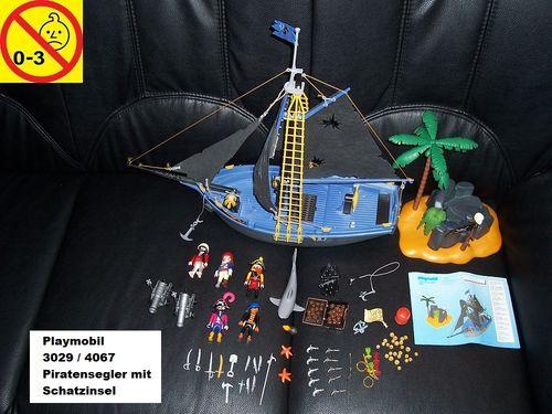 Playmobil Set 4067 Pirates / Piraten - Piratensegler mit Schatzinsel Schiff + Bauanleitung gebr.