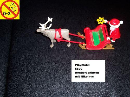 Playmobil Set 5590 Weihnachten - Christmas Rentierschlitten mit Nikolaus ohne Bauanleitung gebr.
