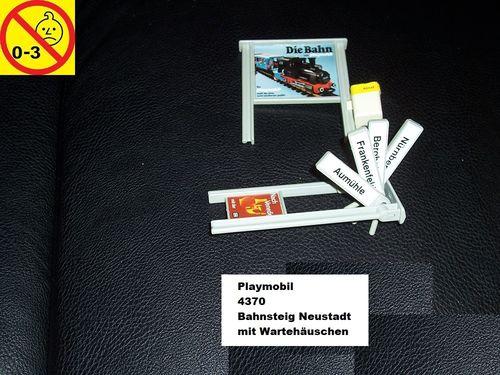 Playmobil Einzelteile 4370 City / Life - Bahnsteig Neustadt mit Wartehäuschen Ersatzteil Zug gebr.