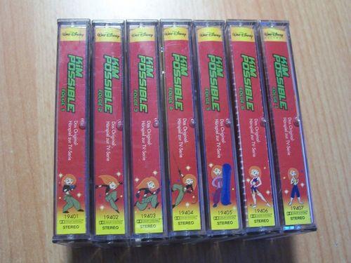 Walt Disney Hörspiel MC zur TV-Serie Kim Possible Sammlung Folge 1-7 1 2 3 4 5 6 7 Records rot gebr.