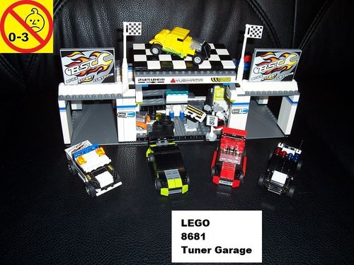 LEGO ® System / Racers Set 8681 - BSC Tiny Turbos Tuner Garage Wekstatt + 5x Auto gebr.