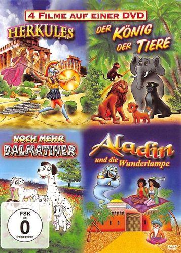 DVD Herkules + Der König der Tiere + Noch mehr Dalmatiner + Aladin  4 Film DVD Box FSK 0  NEU & OVP
