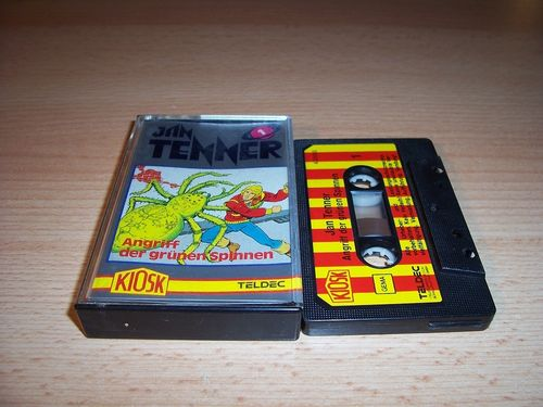 Jan Tenner Hörspiel MC Kassette 001 1 Angriff der grünen Spinnen 1. Kiosk Teldec rot-gelb gebr.