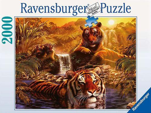 Puzzle 2000 Teile - Am Wasserloch mit Tiger von Ravebsburger Puzzle Nr. 166466 NEU & OVP