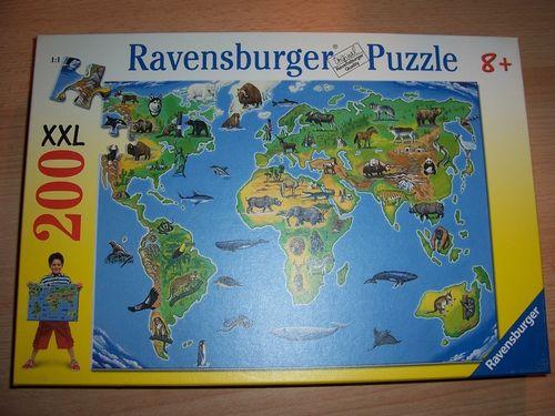 Puzzle 200 Teile - XXL - Weltkarte mit Tiere Ravebsburger Puzzle Nr. 126996 100% komplett gebr.
