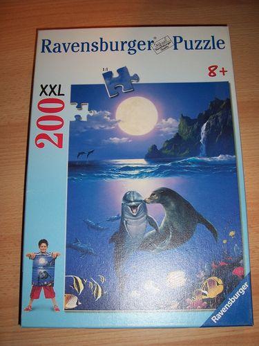 Puzzle 200 Teile - XXL - Küsschen im Mondschein Ravebsburger Puzzle Nr. 127177 100% komplett gebr.