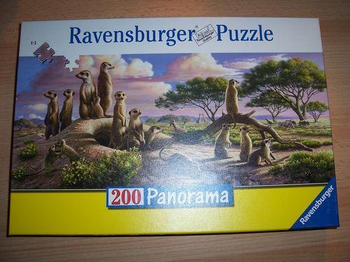 Puzzle 200 Teile - Panorama - Süße Erdmännchen Ravebsburger Puzzle Nr. 126491 100% komplett gebr.