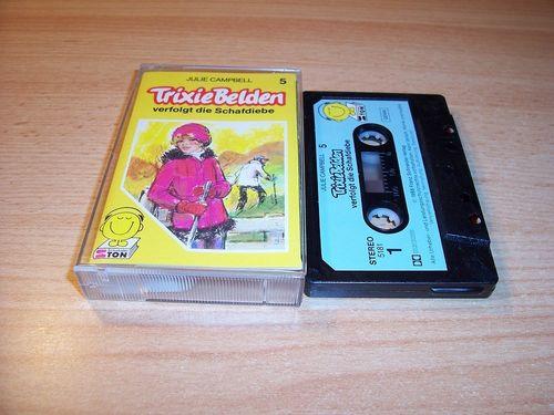 Trixie Belden Hörspiel MC 005 5 verfolgt die Schafdiebe Schneider Ton schwarz-blau gebr.