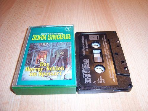 John Sinclair Hörspiel MC 001 1 Das Horror-Schloß im Spessart Tonstudio Braun 2. schwarz Atom gebr.