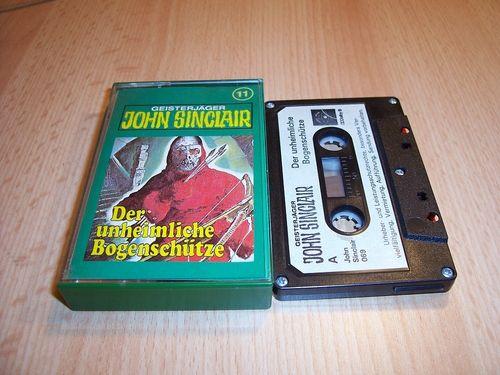 John Sinclair Hörspiel MC  011 11 Der unheimliche Bogenschütze Tonstudio Braun 1. schwarz-weiß gebr.