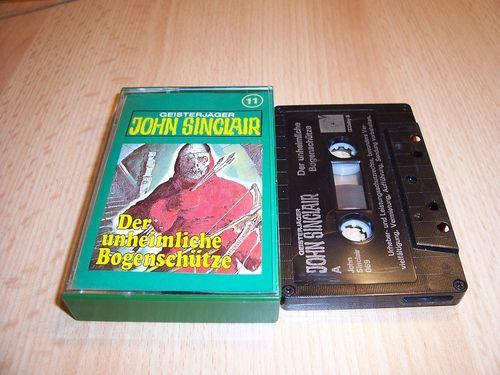 John Sinclair Hörspiel MC  011 11 Der unheimliche Bogenschütze Tonstudio Braun 2. schwarz Atom gebr.