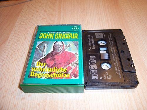 John Sinclair Hörspiel MC  011 11 Der unheimliche Bogenschütze Tonstudio Braun 3. schwarz Film gebr.