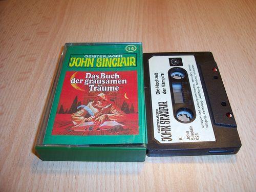 John Sinclair Hörspiel MC 014 14 Das Buch der grausamen Träume Tonstudio Braun 1. schwarz-weiß gebr.